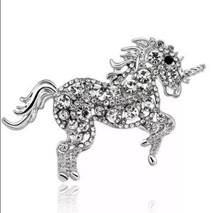 Unicorn rhinestone Brooch